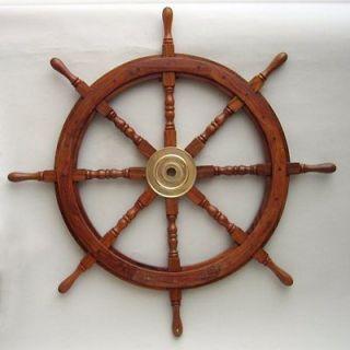 36 NAUTICAL PIRATE TEAK WOOD WOODEN SHIP WHEEL WITH BRASS HUB