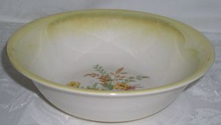 Edwin Knowles Semi Vitreous Yellow Rimmed Floral Pattern Round