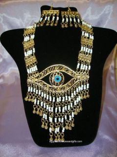 EGYPTIAN Pharaonic Goldtone White Bead Necklace & Earrings *Eye of