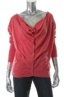 Eileen Fisher NEW Pink Cowl Neck Ribbed Trim Long Sleeves Cardigan