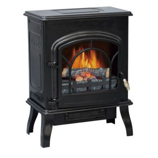 Portable 750/1500W Electric Fireplace Stove Heater Steel Body Black