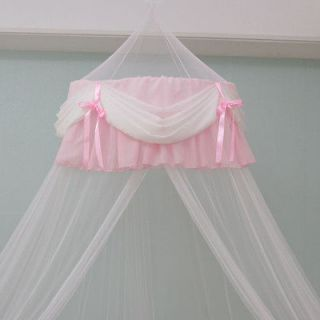 White & Pink Chiffon Shirring Bed Canopy net + Tape Hook / Mosquito