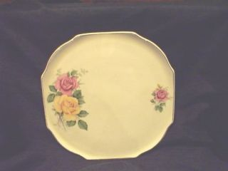 LORD NELSON WARE ELIJAH COTTON PINK/YELLOW ROSE LARGE SQUARE PLATE