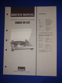 SANSUI SR 232 TURNTABLE SERVICE MANUAL ORIGINAL VERY GOOD CONDITION
