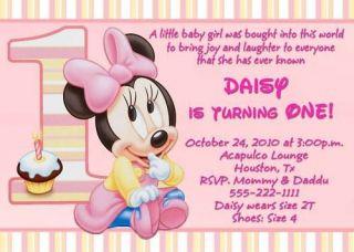 MINNIE MOUSE CUSTOM FIRST BIRTHDAY INVITATIONS