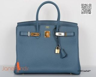 NEW COLOR HERMES 35CM BIRKIN BAG BLUE TEMPETE SIMPLY ZBEST WITH GOLD