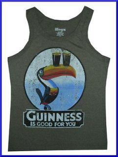 Men Shirt Tank Top Guinness Ireland Beer Irish Sz L Vintage Print Soft