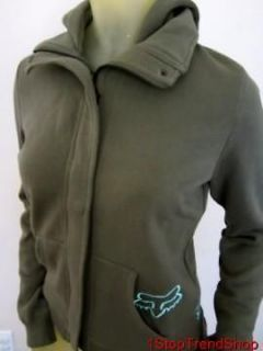 NWT Fox Racing Co womens olive green zip button hoodie sizes XS/S/M/L