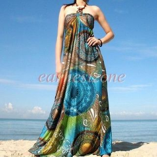 New Evening Party Wedding Prom Hippie Formal Long Halter Cocktail Maxi
