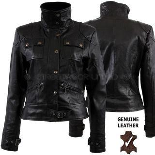 Aviatrix Ladies Womens Genuine Leather Jacket Black # Lara