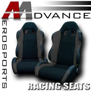 2pc LH+RH JDM Blk/Grey Fabric & PVC Leather Racing Bucket Seats