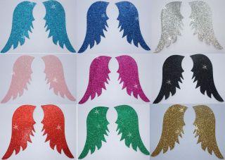 FABRIC GLITTER ANGEL FAIRY WING A IRON ON HOTFIX TSHIRT TRANSFER