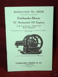 Fairbanks Morse ZA Z engine 10hp Hit & Miss Manual Book