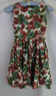 Vintage 50s 60s Girls White Green Brown Cotton Watercolor Print Dress