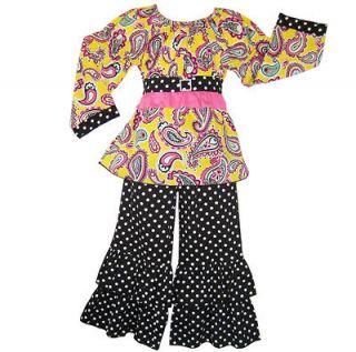 Tween Girls 9/10 Boutique Paisley & Dots Clothing Set