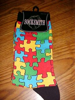 AUTISM SYMBOL PUZZLE PIECES on ladies crew socks NEW free ship in USA