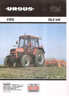 Farm Tractor Brochure   Ursus   934   1992 (Poland) (FB210)