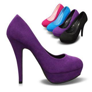Classic Faux Suede Womens Shoes Platforms Stilettos High Heels Pumps