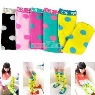 S0BZ New Girl Kid Sweet Soft Knee High Socks Big Dot Straight Sock for
