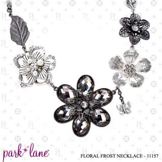 BY PARK LANE FLORAL FROST NECKLACE FLOWERS CRYSTAL BUTTERFLY LEAF $85