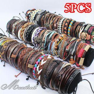 Fashion Womens Mens Leather Cord Braided Bracelet Wristband Jewelry