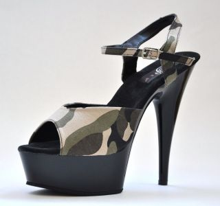 Green Camo Army Military Marines Crossdresser Heels Costume Shoes