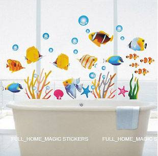 FISH BATHROOM DECOR/CHILDRENS ROOM WALL STICKERS LARGE