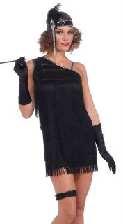 Sexy 20s Halloween Costume Short Black Fringe Flapper Dress