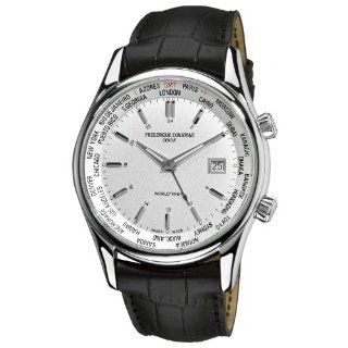 Frederique Constant Mens FC255S6B6 Classic Silver Dual Time Zone Dial