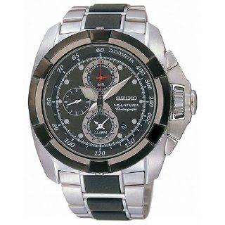 Seiko Velatura Black Dial Chronograph Stainless Steel Mens Watch