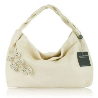 ARCADIA Italian Designer Cream Leather Purse Handbag with