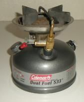 Coleman DUAL FUEL CAMP STOVE Model 533 Single Burner Duel Fuel