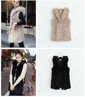 NEW Fashion Womens Faux Rabbit Fur Winter Warm Long Vest Jacket