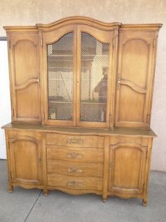 Widdicomb carved country French break front china cabinet hutch cherry