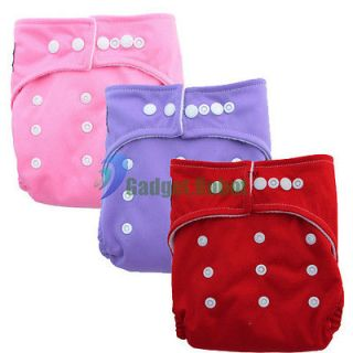 3PCS Adjustable Size Baby Washable Reusable Diapers Cloth Nappies+3
