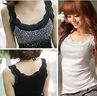 womens blouse diamonds lace flounced gallus slim corset vest top