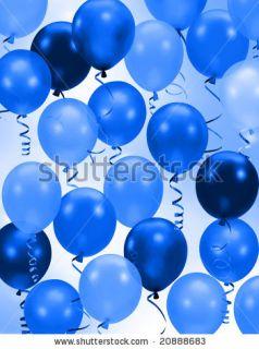 Celebration Or Birthday Party Blue Balloons Background Stock Photo