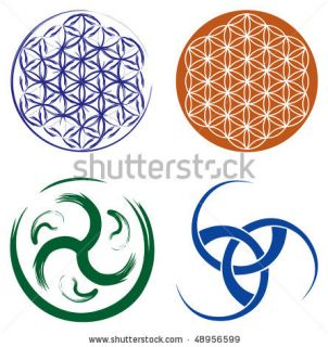 Set Of Celtic Symbols   Celtic Knot And Flower Of Life. Stock Vector