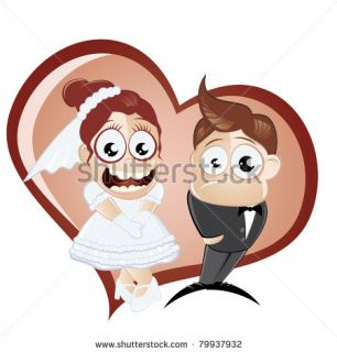 Funny Cartoon Wedding Stock Vector 79937932 : Shutterstock