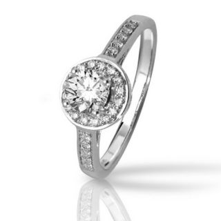 Halo Style Pave set Round Diamonds Engagement Ring with a