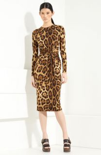 Michael Kors Twist Front Leopard Print Dress