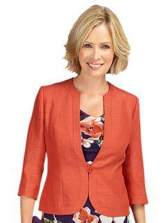 Buy Jacques Vert Collarless Jacket, Burnt Orange online at JohnLewis
