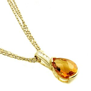Pear Shaped Citrine & Diamond Accent Pendant in 14K Yellow Gold. Click