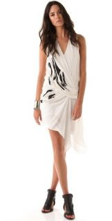 Helmut Lang Embroidered Drape Front Dress