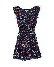 Blue Pattern (Blue) Teens Navy Butterfly Print Chiffon Dress