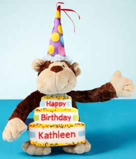Happy Birthday Monkey with Personalizable Giant Birthday Cookie and