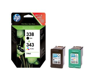 Buy HP 338/343 Tri colour & Black Ink Cartridge Pack  Free Delivery
