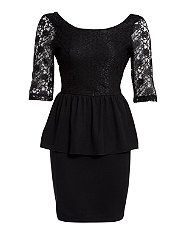 Black (Black) Paprika Black Lace Sleeve Peplum Dress  262332301  New