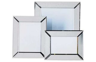 Living Set of 3 Bevelled Edge Mirrored Glass Photo Frames. from