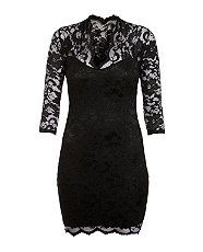 Black (Black) John Zack Black Lace Katie Dress  260959001  New Look